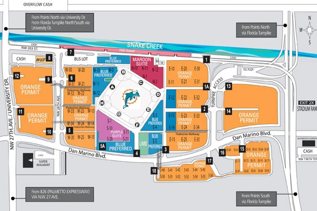 Jets Miami Dolphins Tailgate Week 3: Map Of Miami Dolphins Stadium At Usa Maps
